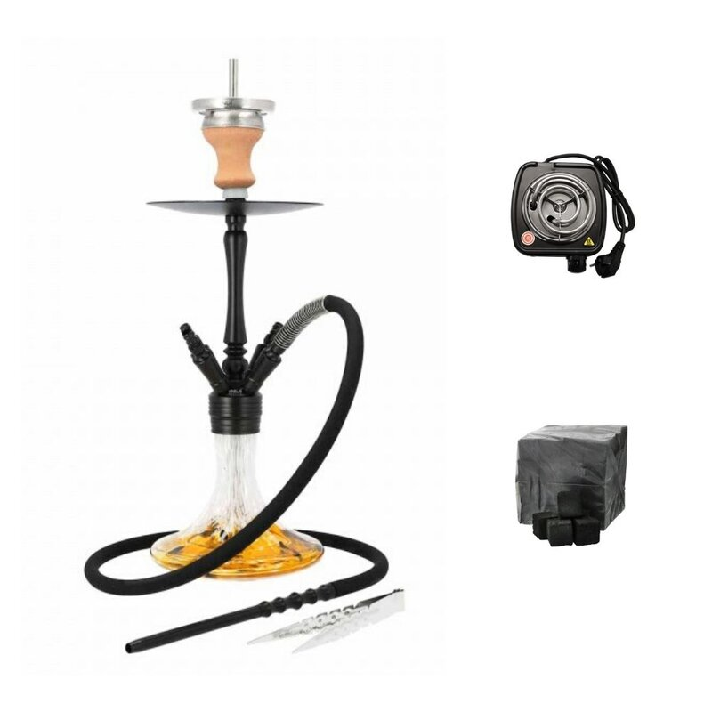 Shisha Einsteigerset INVI Reklexion ALU Schwarz - Orange-White-Black